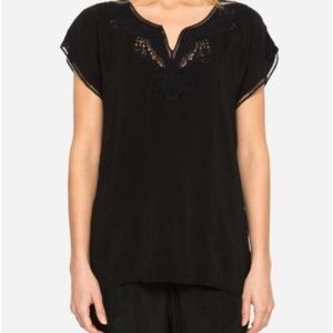 Johnny Was Navi Embroidered Lace Top Blouse